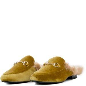 Shoes - YOUR MAJESTY FAUX FUR OLIVE VELVET LOAFER SLIDES